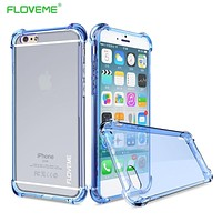 FLOVEME Clear Case For iPhone 7 6 6s Plus Case Transparent Full Protection 360 Degree Anti-knock Phone Back Cover For iphone 7 6
