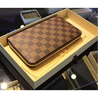 Louis Vuitton LV Clutch Bag Women Men Leather Zipper Wallet Purse