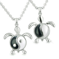 Amulets Yin Yang Turtles Love Couple Enamel Simulated Onyx White Cats Eye Pendant Necklaces