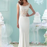 Buy discount Elegant Tulle & Stretch Satin Bateau Neckline Sheath Wedding Dresses with Beaded Lace Appliques at Dressilyme.com