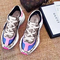 GUCCI Sneakers Contrast Stithing Color Blue  Pink Khaki Shoes Sports Shoes