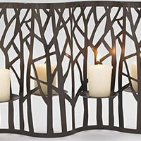 Brown Metal Forest Screen Votive Candle Holder