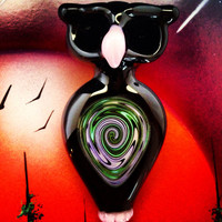 Black & Pink Owl Pipe with Reversal