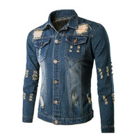denim jacket men jeans solid slim mens jackets and coats casual bomber jacket men jacketM-XXL veste homme