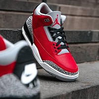 Nike Air Jordan 3 Retro Red Cement Men's and Women's Sneakers Shoes