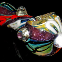Unique Purple Dichroic Spoon Bowl with Inside Out Colors - Silver Fumed Color Changing Glass Pipe with Magnifier Marbles