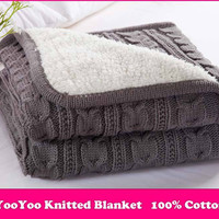 Free Shipping Knitted Blanket / Cotton Knitted Throw with Lininng Super Soft Warm Blanket Cover Double Cable Knit,120*180cm