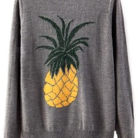 Stylish Pineapple Pattern Heather Grey Sweater