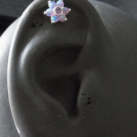 Purple Opal gems flower helix / cartilage earring (1pc)