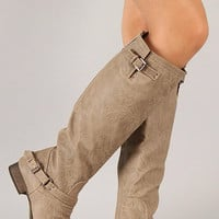 Double Buckle Boots - Beige