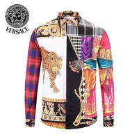 VERSACE Newest Popular Men Women Casual Print Long Sleeve Lapel Shirt Top