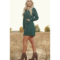 Bold Boho Shirt Dress (Dark Green)