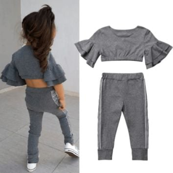 Crop Top And Pants Fall Outfits For Toddler Girl
