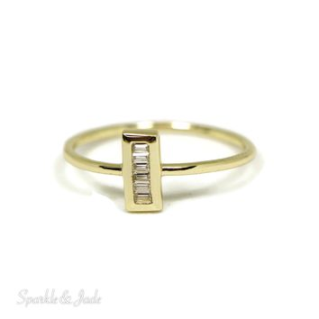 Sterling Silver 14k Yellow Gold Plated Petite CZ Bar Ring
