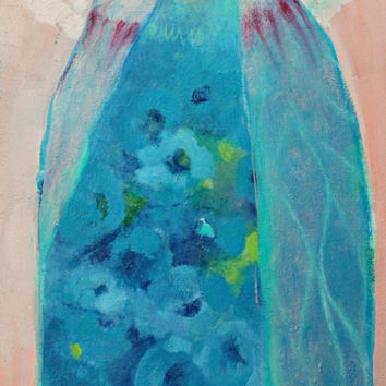 """Abstract Figure, Angel Painting, Original on Canvas, Blue, Floral,  """"Morning Angel"""" 12x24"""""""