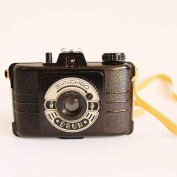 Vintage camera, original box, made in Poland, 1960s, brand new, Synchro Druh