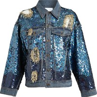 Ashish Sequinned Distressed Denim Jacket
