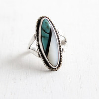 Vintage Sterling Silver Turquoise, Mother of Pearl, Onyx Ring - Size 5 Statement Retro Native American Jewelry, Hallmarked SJ