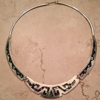 Vintage Mexican Necklace Black with Abalone Inlay Alpaca Mexico Jewelry