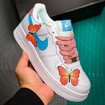 NIKE Air Force1 butterfly reflective hand-painted graffiti sneakers Shoes