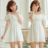 Sweet White Strapless Hollowed Bow Cotton Dress