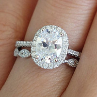 1.5 Carat, Oval Halo Engagement Ring, D Color Man Made Diamond Simulants, Wedding Band, Bridal Set, Wedding Ring, Promise, Sterling Silver