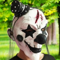 Black and White Scary Clown Mask Full Face Cosplay Horror Masquerade Adult Ghost Mask Halloween Props Costumes