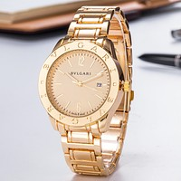 Bvlgari New fashion couple quartz watch wristwatch Golden