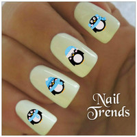 Christmas Nail Decal 20 Vinyl Stickers Penguins Nail Art Stocking Stuffers