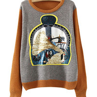 Khaki And Grey Printed Knitted Sweater