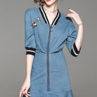 Denim Dress W/ Front Zipper