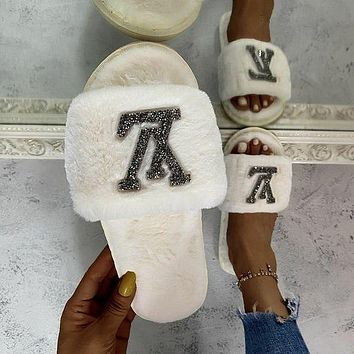 Louis Vuitton LV Rhinestone Letters Men's and Women's Home Slippers Shoes