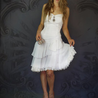 Vintage white corset dress / sexy Victoriana Stevie Nicks  party or bridal gown / fitted bodice ruffled bows lace asymetrical frock