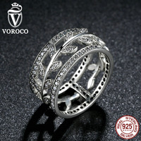 Genuine 925 Sterling Silver Vivid Tree Leaves DIY 2 pcs Finger Ring Compatible with VRC Fashion Jewelry Party R009