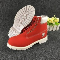 Timberland Rhubarb Boots White Red Waterproof Martin Boots