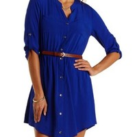 Blue Button-Up Belted Shirt Dress by Charlotte Russe