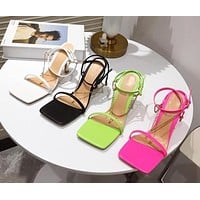 Women Chain Open Toe High Heel Lace Up Sandals
