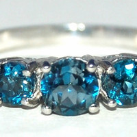 London Blue Topaz Ring, Size 7, Gorgeous Matched 3 Stone Ring