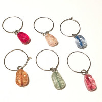 Colorful Crackled Glass Wine Glass and Drink Charms