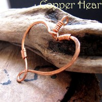 Rustic Heart Pendant - Copper Wrapped Heart - Jewelry Add On Charm