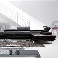2 pc Nova black leather like vinyl upholstered sectional sofa with adjustable headrests and arm with chrome legs