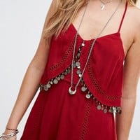 Kiss The Sky Cami Romper With Coin Tassles