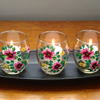 Flowered Candle Holders With Wooden Tray