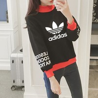 Adidas Couple Casual Unisex Turtleneck Letter All-match Multicolor Pattern Cotton Sweater