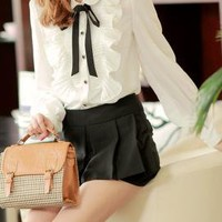 Collegiate Depictions Ruffle Tie-Neck Blouse in White | Sincerely Sweet Boutique