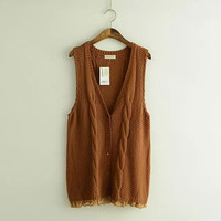 Lace Sleeveless Button Knitted Shirt