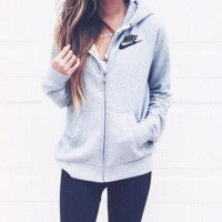 "Fashion ""Nike"" Gray Hoodie Zipper Cardigan Tops Jacket Sweater Sweatshirts"