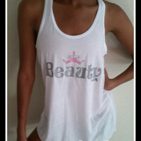Disney Inspired Beauty Loose Fitting Racer Back Tank Top