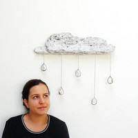 Driftwood Cloud with Vintage Crystal Raindrops - Wall Hanging