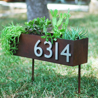"6"" x 20"" Rust Patina Address Plaque & Planter on Stakes with (4) Brushed Aluminum Address Numbers (Free Shipping)"